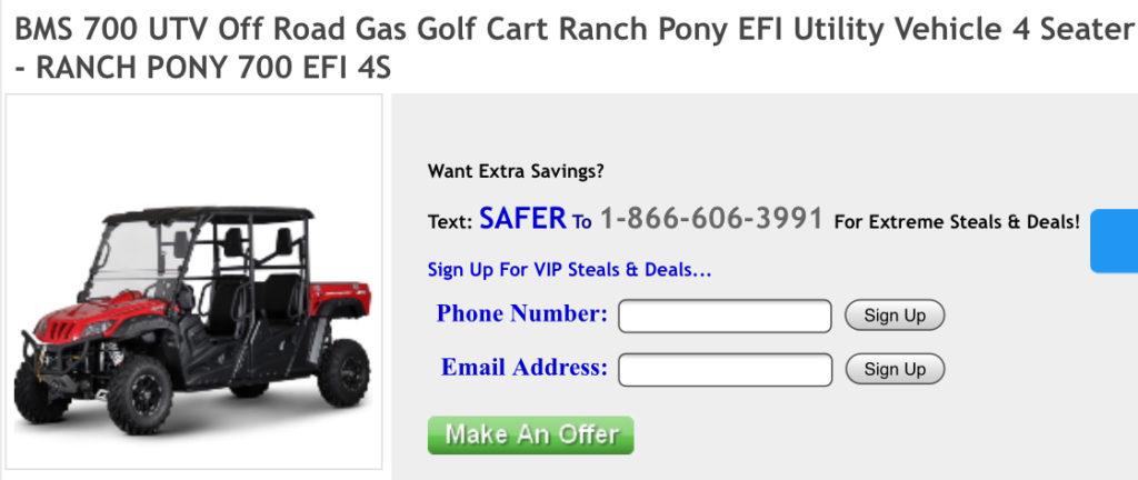 4 Seat UTV BMS Ranch Pony 700